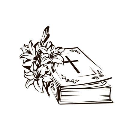 Schwarzes Bibelbild mit Lilie und Kreuz Vektorgrafik