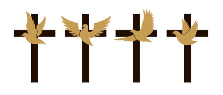 christian cross with dove
