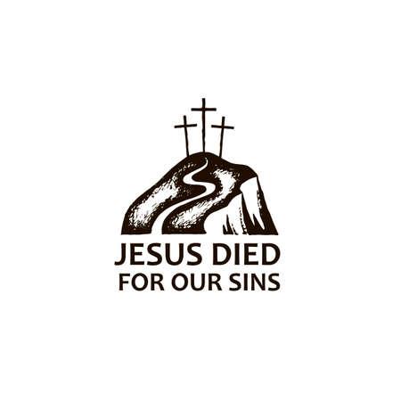 black icon of jesus golgotha hill with crosses