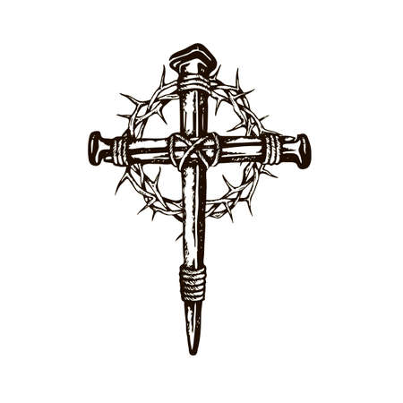 black image of jesus nail cross with thorn crown