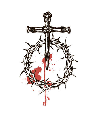 image of jesus nails with thorn crown and blood Standard-Bild - 122119283