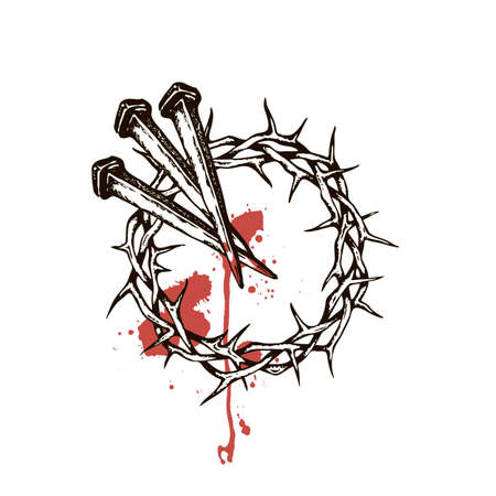 image of jesus nails with thorn crown and blood