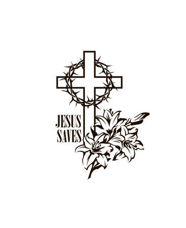 black religion cross with lily and thorn crown