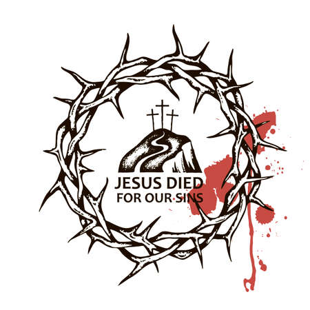 image of thorn crown with golgotha and blood Standard-Bild - 122119552