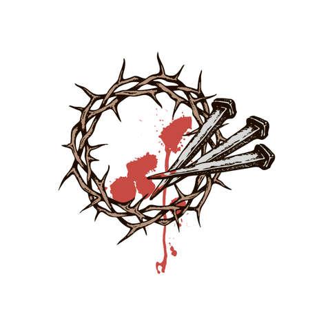 Bild von Jesus Nägel mit Dornenkrone und Blut isoliert auf weißem Hintergrund