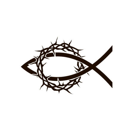 black crown of thorns with fish icon Illustration