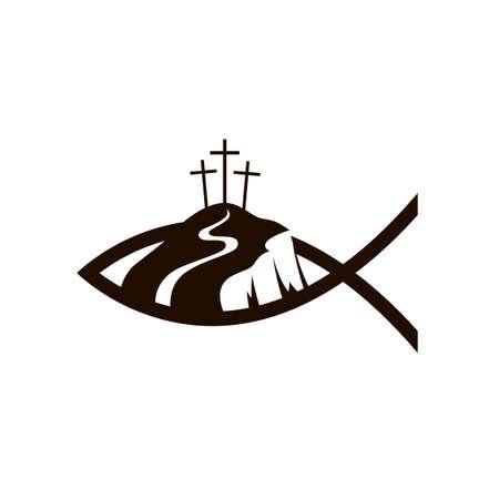 black jesus fish and golgotha icon Ilustração