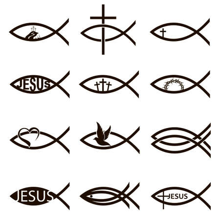 collection of black jesus fish icons