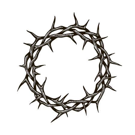 immagine corona di spine nera isolata su sfondo bianco white Vettoriali