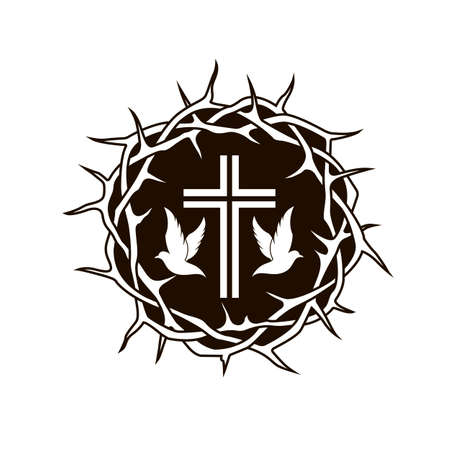 black crown of thorns cross and dove icon 免版税图像 - 122119856