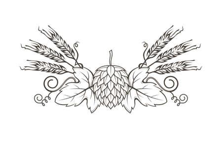 illustration noire de houblon et d'orge pour le brassage