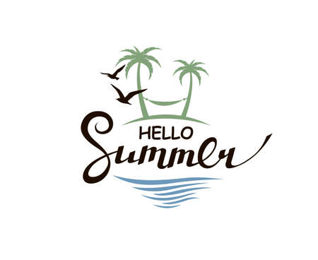 hello summer lettering with beach