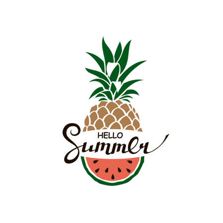 hello summer lettering with pineapple and watermelon Ilustrace