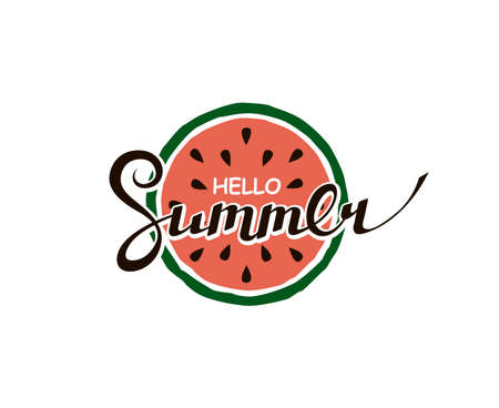 hello summer lettering with watermelon Ilustrace