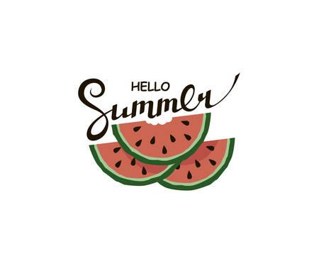 hello summer lettering with watermelon Vettoriali