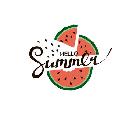 hello summer lettering with watermelon Vettoriali