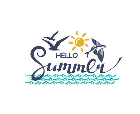 hello summer lettering with sea