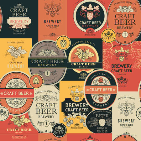 seamless pattern with beer labels