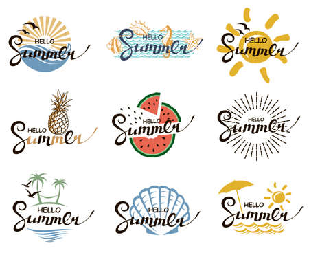 hello summer lettering set