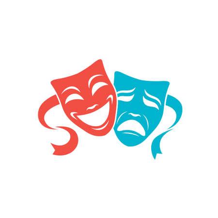 Ilustración de comedia y tragedia máscaras teatrales aisladas