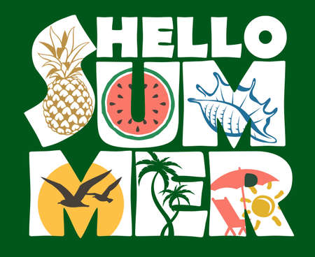 hello summer lettering image