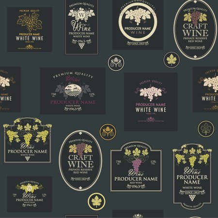 seamless pattern wine labels