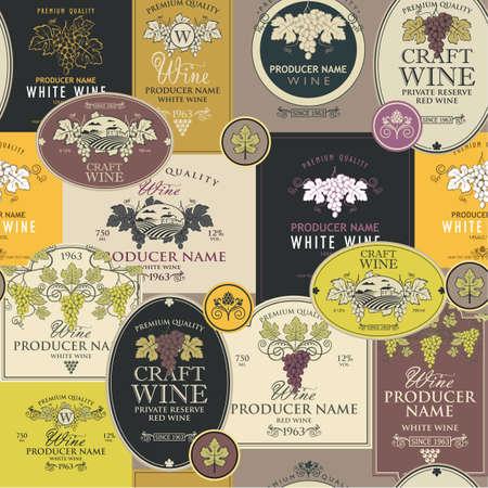 seamless pattern wine labels