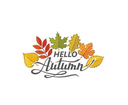 hello autumn label Illustration
