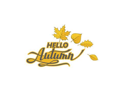 hello autumn label  イラスト・ベクター素材