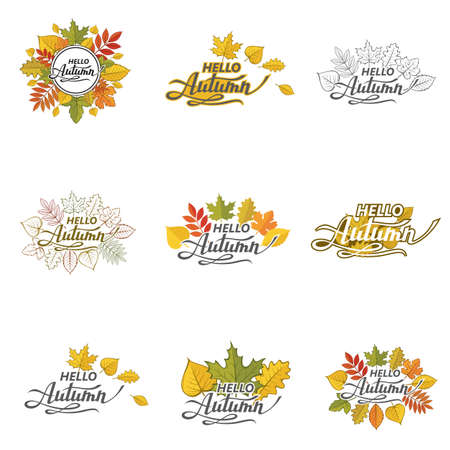 collection of hello autumn lettering pattern with leaves