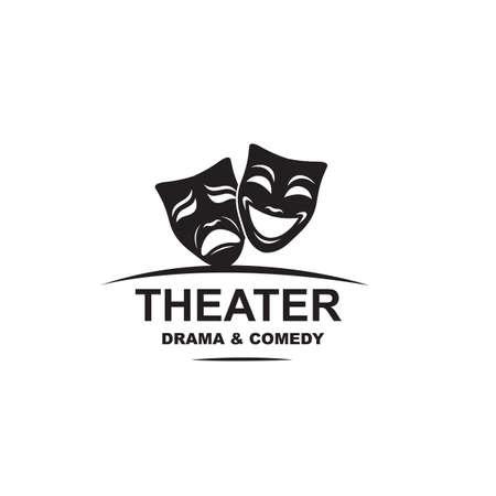 icon of comedy and tragedy theatrical masks Ilustração