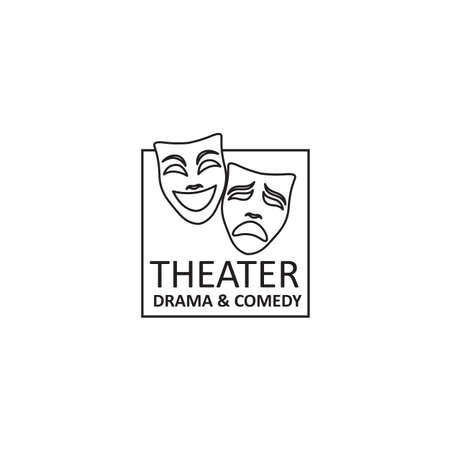 icon of comedy and tragedy theatrical masks  イラスト・ベクター素材