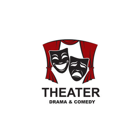 icon of comedy and tragedy theatrical masks on scene with curtains