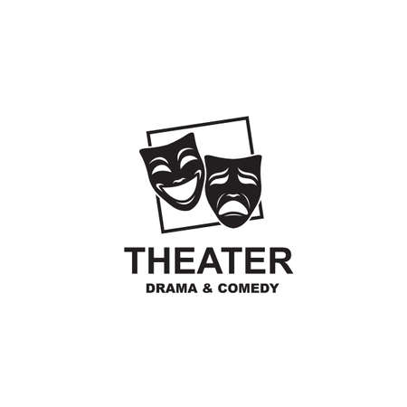 icon of comedy and tragedy theatrical masks Imagens - 128942609