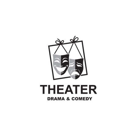 icon of comedy and tragedy theatrical masks Illustration