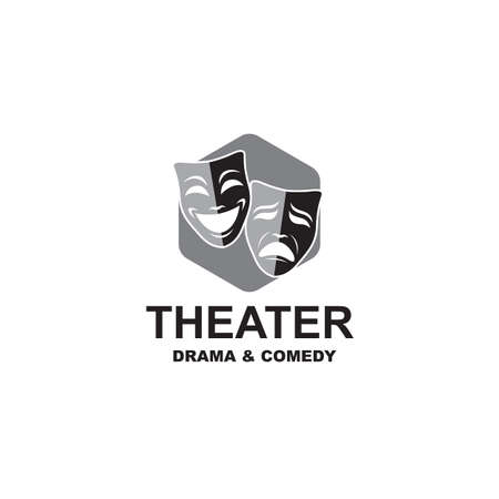 icon of comedy and tragedy theatrical masks Imagens - 128942611