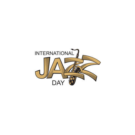 icon of jazz international day with saxophone Stock Illustratie