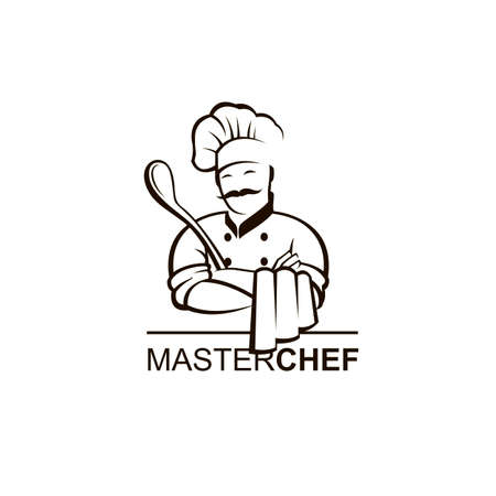 black chef icon isolated with ladle Иллюстрация