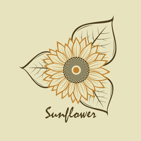 illustration with flower of sunflower isolated on beige background