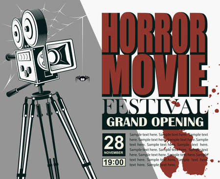 horror night cinema poster with retro movie camera