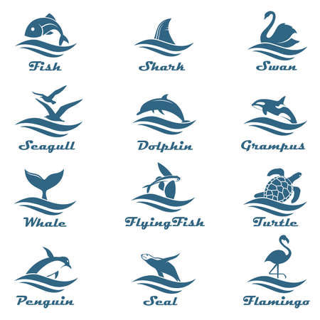 icon collection of aquatic animals with sea waves