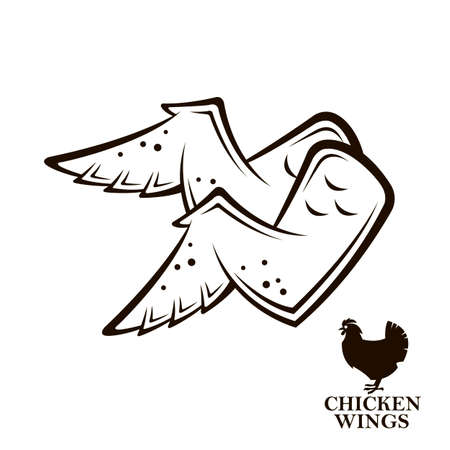 monochrome illustration of chicken wings icon