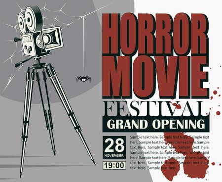 horror night cinema poster with retro movie camera