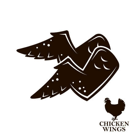 monochrome illustration of chicken wings icon isolated on white background