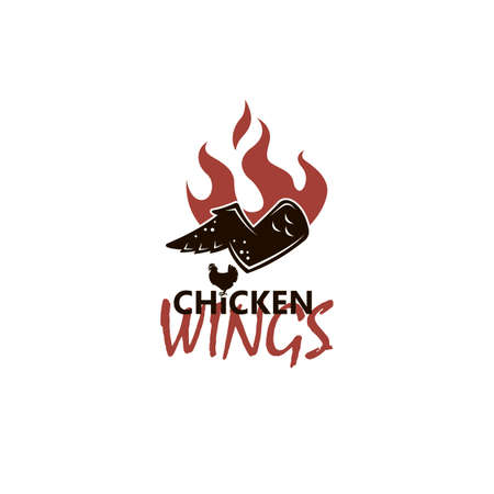 illustration of chicken wings with flame isolated on white background