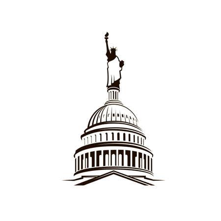 Gebouw van het Capitool van de Verenigde Staten met het Vrijheidsbeeld Vector Illustratie