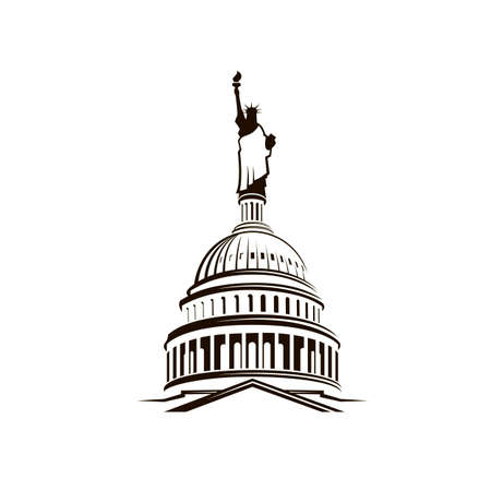 United States Capitol building with Statue of Liberty Ilustración de vector
