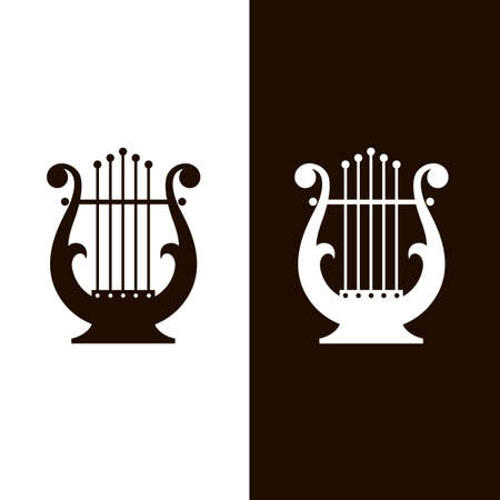 ancient lyre icons set isolated on white and black background