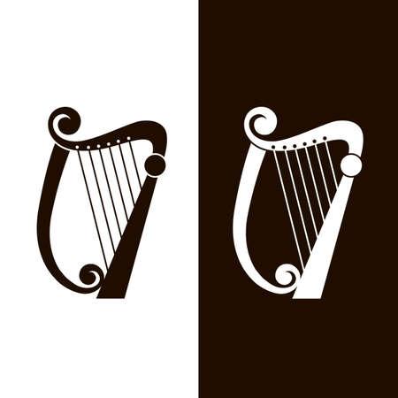 stringed harp icons set isolated on white and black background