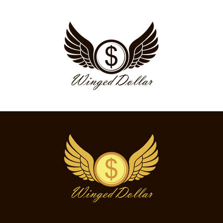 set of flying winged dollar coin icon